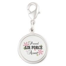Air Force Aunt [fl camo] Silver Round Charm