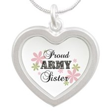 Army Sister [fl camo] Silver Heart Necklace