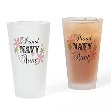 Navy Aunt [fl camo] Drinking Glass