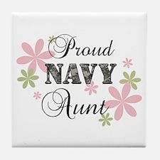 Navy Aunt [fl camo] Tile Coaster