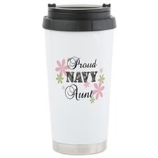 Navy Aunt [fl camo] Stainless Steel Travel Mug