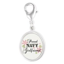 Navy Girlfriend [fl camo] Silver Oval Charm