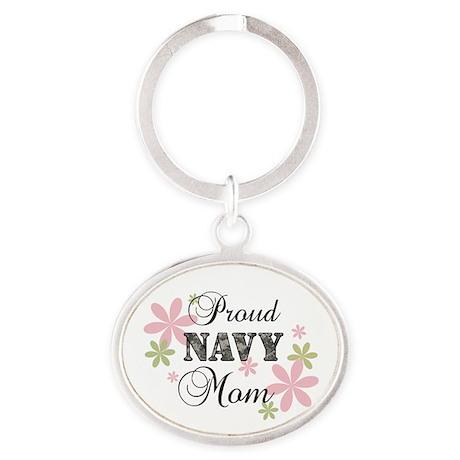 Navy Mom [fl camo] Oval Keychain