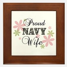 Navy Wife [fl camo] Framed Tile
