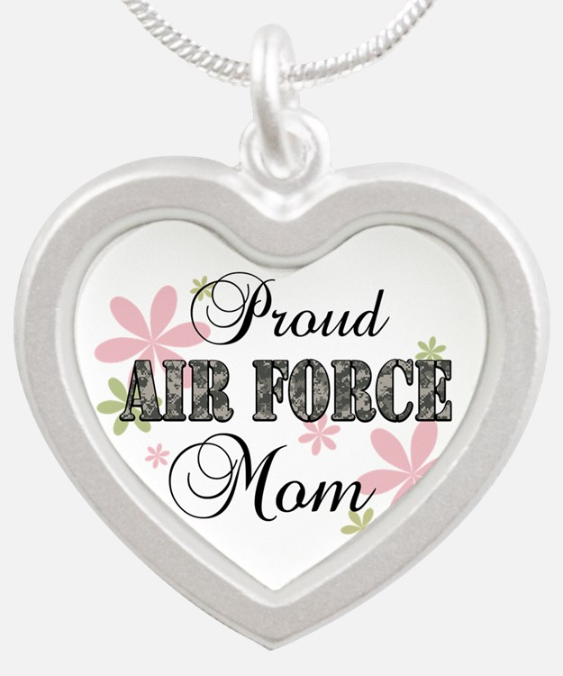 Air Force Mom [fl camo] Silver Heart Necklace