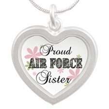 Air Force Sister [fl camo] Silver Heart Necklace