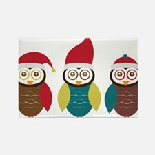 Christmas Owls Rectangle Magnet