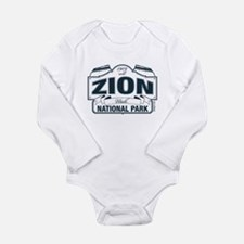 Zion National Park Blue Sign Long Sleeve Infant Bo