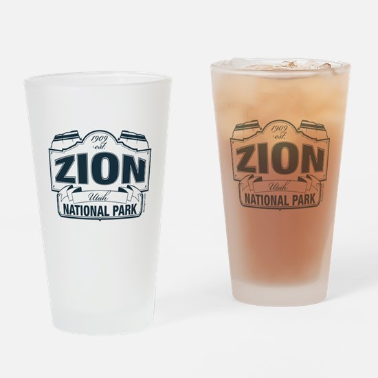 Zion National Park Blue Sign Drinking Glass