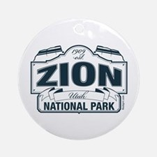 Zion National Park Blue Sign Ornament (Round)