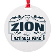 Zion National Park Blue Sign Ornament