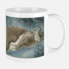 CUTE CAT STRETCHING ON BED. Mug