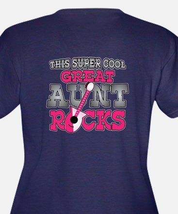 Great Aunt Rocks Women's Plus Size V-Neck Dark T-S