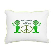 Green Alien Peace Rectangular Canvas Pillow