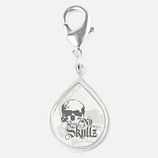 No skulls Silver Teardrop Charm