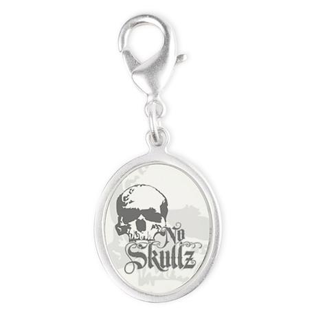 No skulls Silver Oval Charm
