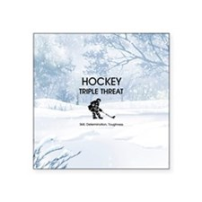 "TOP Ice Hockey Slogan Square Sticker 3"" x 3"""