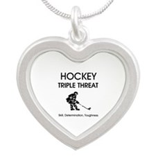 TOP Ice Hockey Slogan Silver Heart Necklace