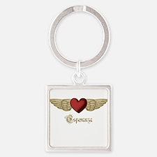 Esperanza the Angel Square Keychain