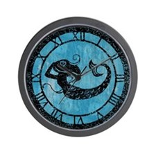 Worn Mermaid Graphic Wall Clock