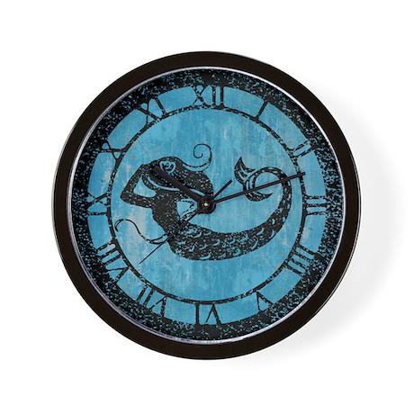 Worn Mermaid Graphic Wall Clock