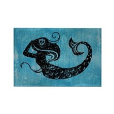 Worn Mermaid Graphic Rectangle Magnet