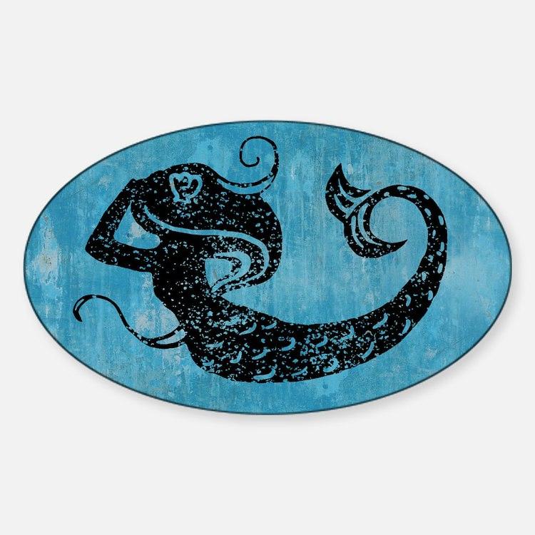 Worn Mermaid Graphic Sticker (Oval)