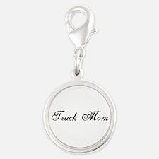 Track Mom - Team Mom Silver Round Charm