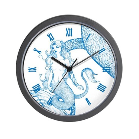 Blue Mermaid Drawing Wall Clock by oph3lia
