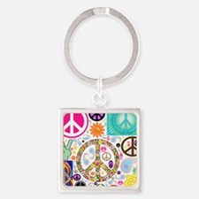 Peace Paisley Collage Square Keychain