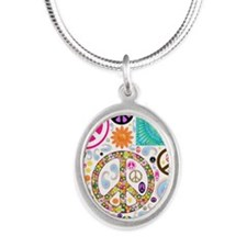 Peace Paisley Collage Silver Oval Necklace