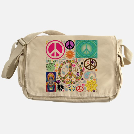 Peace Paisley Collage Messenger Bag