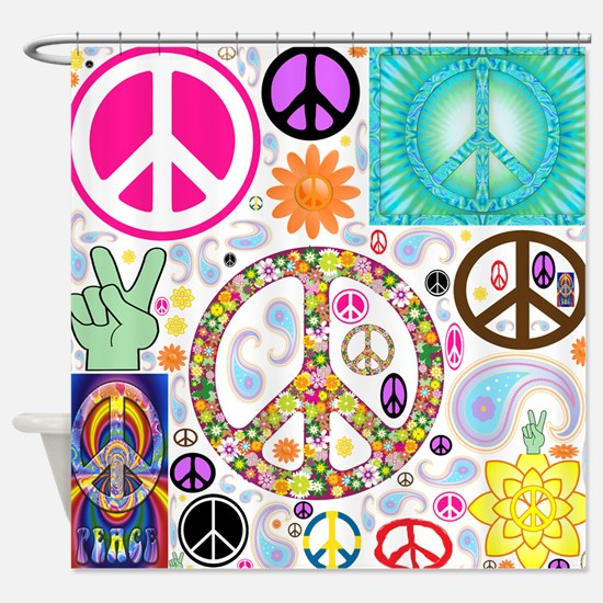 Peace Paisley Collage Shower Curtain