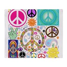 Peace Paisley Collage Throw Blanket