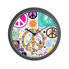 Peace Paisley Collage Wall Clock