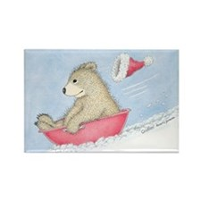 Beary Fast Sled Rectangle Magnet