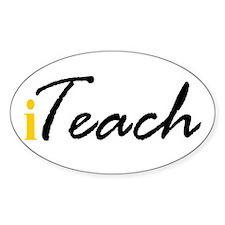 "I ""Teach"" (yellow) Oval Decal"