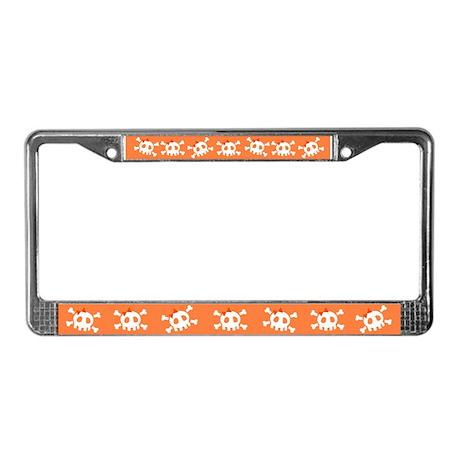 Orange Skull License Plate Frame