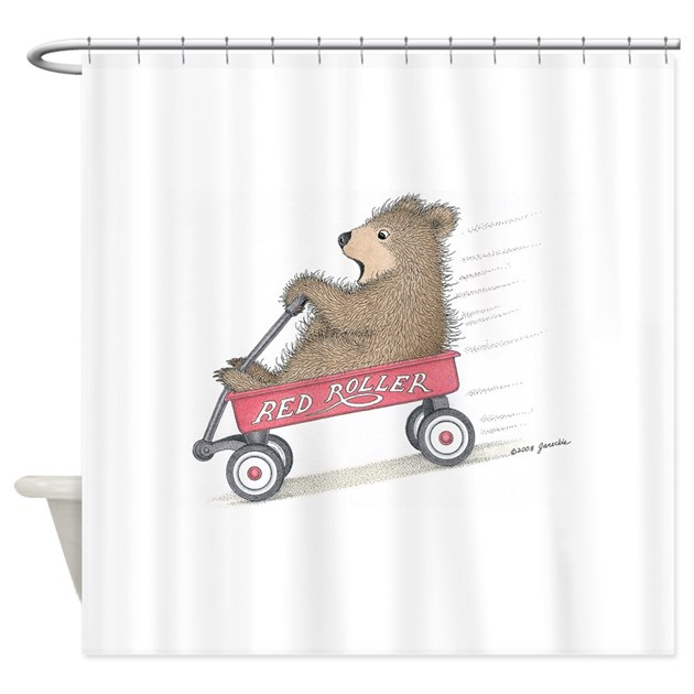 Red roller racing shower curtain by gruffies for Race car shower curtain