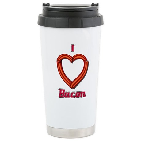 I Heart Bacon Stainless Steel Travel Mug