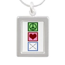 Peace Love Twirl Silver Portrait Necklace