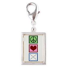 Peace Love Twirl Silver Portrait Charm