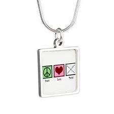 Peace Love Twirl Silver Square Necklace