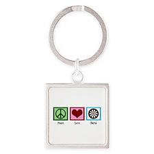Peace Love Darts Square Keychain