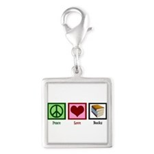Peace Love Books Silver Square Charm