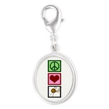 Peace Love Knit Silver Oval Charm