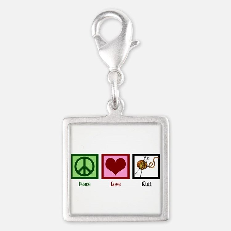 Peace Love Knit Silver Square Charm