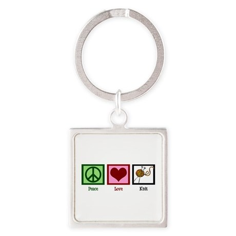 Peace Love Knit Square Keychain