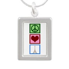 Peace Love Paris Silver Portrait Necklace