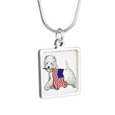 Patriotic Westie Silver Square Necklace